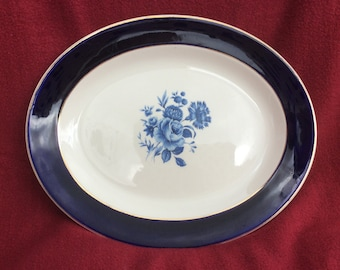 """Lord Nelson Ware Blue Regal Oval Server Platter 12 1/4 """"x9 7/8"""""""