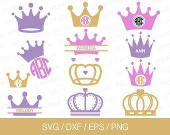 Princess Crown Svg, Princess Crown Monogram Frame Svg, Svg, Eps, Dxf, Png use with Cricut & Silhouette