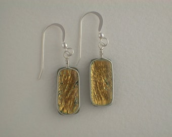 Yellow / Gold Dichroic Glass Earrings with Silver wire wrap