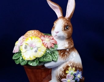 Small Brown Easter Bunny Rabbit Candy Dish Nut Dish With Flower Basket 1993