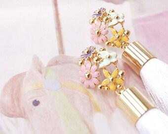 White Silk Tassel 22k Gold Plated  Earrings Long Fringe Earrings, Tassel Earrings Beaded, Boho Chic Earrings, Gift for Her