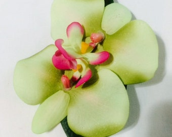 Lime Green Double Orchid Tropical Flower hair clip