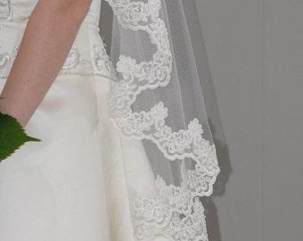 "Circular Cut Mantilla Veil - 42"" fingertip length bridal veil with hand beaded pearls embellished lace edge"