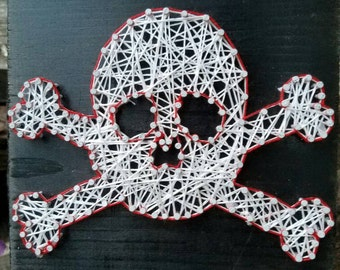 Skull and bones, pirate string art.