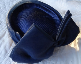 Blue Pillbox Hat with Big Bow