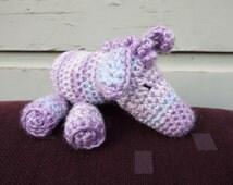 Crochet Zebra, Stuffed Baby Toy, Gender Neutral Toy, Boy or Girl Baby Zebra, Purple Blue White Crocheted Baby Animal