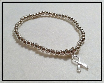100% 925 Sterling Silver Bracelet with a Ribbon Charm