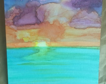Sunset Painting, watercolor painting, ocean sunset paining, multicolored watercolor