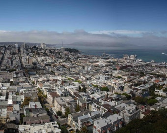 San Francisco Panoramic Photograph taken from Coit Tower, Golden Gate and Alcatraz in the background