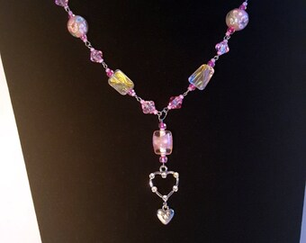 Beautiful Pink Glass Necklace with Heart Pendant