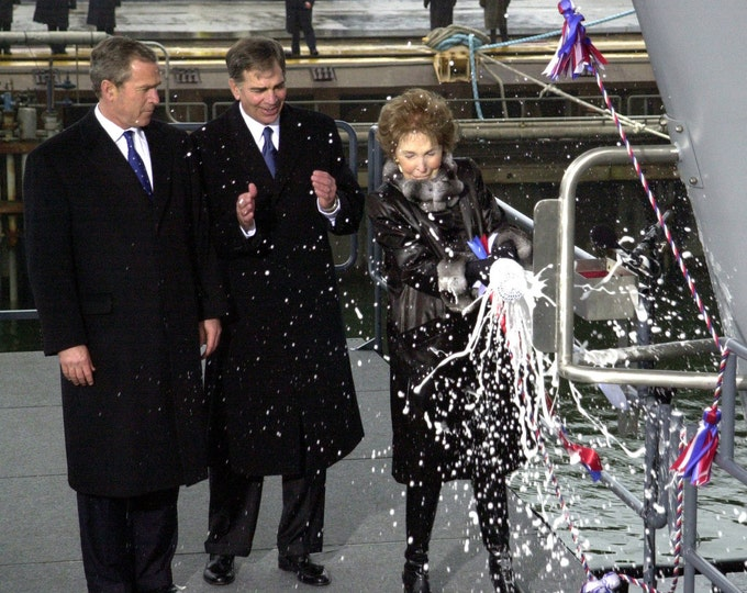 Former First Lady Nancy Reagan Christens the USS Ronald Reagan as President George W. Bush Watches - 5X7, 8X10 or 11X14 Photo (EP-022)