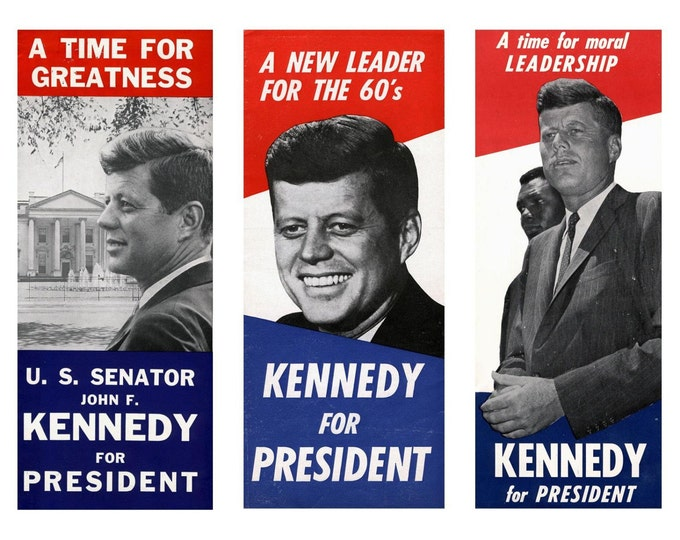 John F. Kennedy Presidential Campaign Posters 3 on 1 Print - 8X10 or 11X14 Photo (ZY-221)
