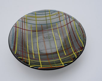Striped Glass Art Bowl