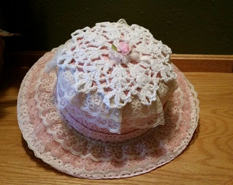Child's Pink Straw Hat - Pink Hat with layers of lace and doily on top - Young Girls Easter Hat - Flower Girl Wedding Hat - Childs Hat