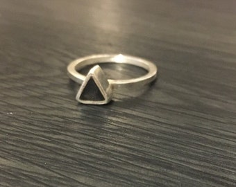 Silver and Stone Triangle Ring