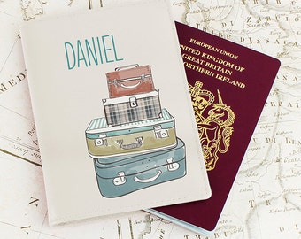 Personalised Leather Passport Cover - Suitcases