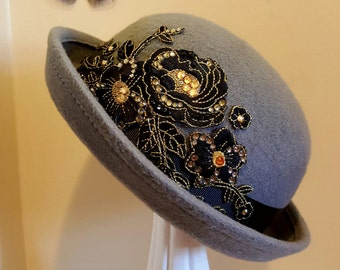 Childs grey bowler hat