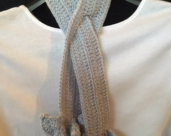 Crocheted Ruffled Slotted Scarf