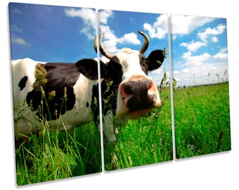 Cow Face Funky Treble CANVAS WALL ART Box Framed Print