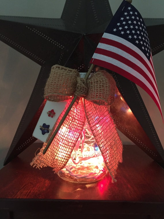 Patriotic Decor/4th of July Decor/Mason Jar Light/Red White and Blue/American Flag/Military Gift/Memorial Day/USA Pride/Military Wedding