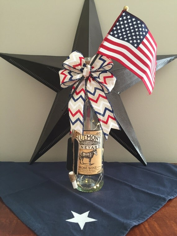 4th of July/Red White and Blue/Wine Bottle Decor/Patriotic/Country Home Decor/Cordless Lamp /Recycled Bottle/Donkey Decor/Wine Lover Gift