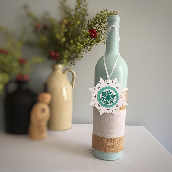 Snowflake Decor/Christmas Decor/Winter Decor/Wine Bottle Decor/Frozen Birthday/Party Decoration/Gift for Her/Wine Lover Gift/Teal and White