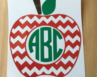 Teacher Chevron Apple Monogram Decal, Yeti Decal, Vinyl Decal, Car Decal, Phone Decal, Laptop Decal, Water Bottle Decal, Vinyl Sticker