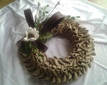 Decorative floral, burlap, autumnal wreath, wall hanging