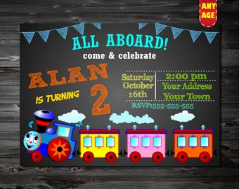 Train Birthday Invitation,trains invitation,trains party invitation,Choo Choo Train birthday invitation,Printable digital DIY