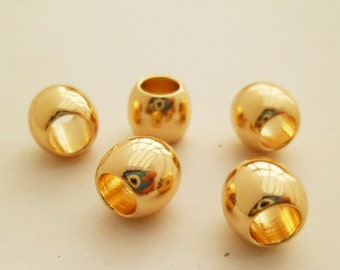 20pcs DAINTY Delicate 8mm Gold Plated Large Hole Barrel Beads Minimalist For Cord Rope 0101-0304-1