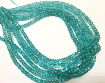Exclusive Quality Aqua Blue Apatite Micro faceted Roundell 5 - 7 mm approx , 14 inch strand