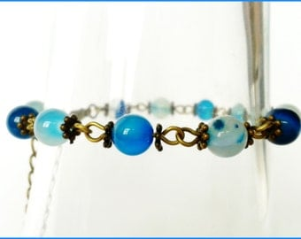 Natural blue AGATE bracelet - metal bronze