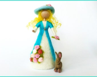 Waldorf doll in shades of turquoise and pink felted wool