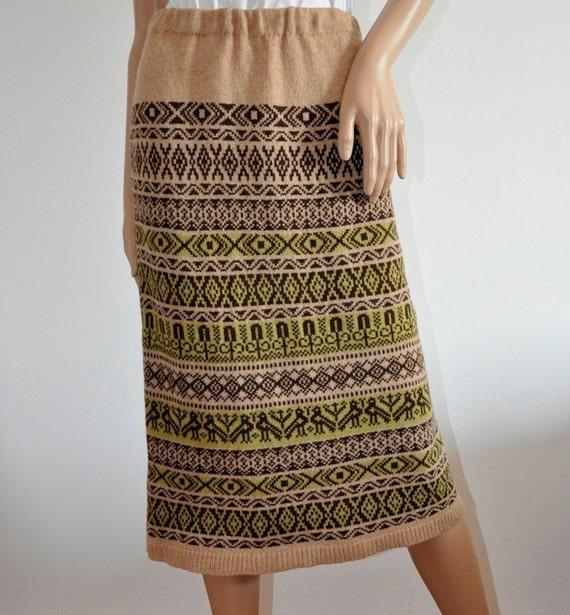 Knit wool Skirt jacquard Biege light brown Handmade  hand knitted Ready to Ship Folk Clothing Fair Isle