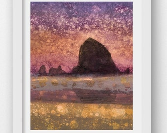 SUNSET HAYSTACK, limited edition fine art print, Haystack Rock, Cannon Beach, Oregon Coast, coastal art