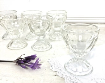 Set of Six Vintage Glass Egg Cups