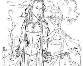 Witch of Air and Water Coloring Page