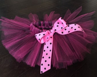 Pink and black tutu, Minnie Mouse tutu, polkadot tutu