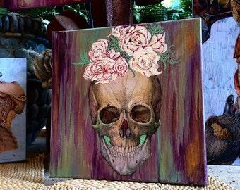 "Frieda Kahlo Skull ART Mixed Media Painting 12"" x 12"""