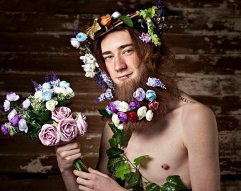Floral flower head piece - Forest creature/King/ Queen