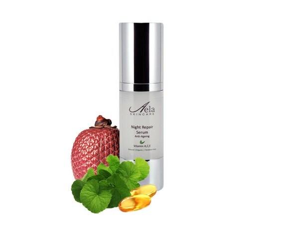 Organic Night Repair Serum with Marine Collagen (Seaweed Derived), Vitamin A, C, E. Anti Ageing, Paraben Free, SPF 25, 30ml *OFFER* 40% off.