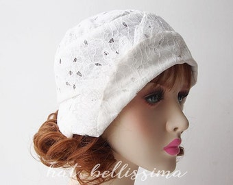 SALE white Lace fabric 1920s Cloche Hat Vintage Style hat hatbellissima millinery