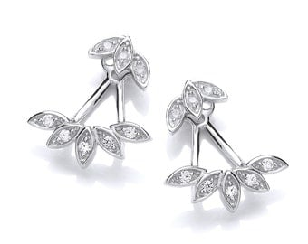 Cubic Zirconia and Silver Floral Cuff Earrings