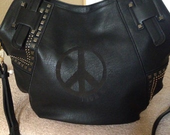 Peace, Love & Rock N Roll Stud Bag