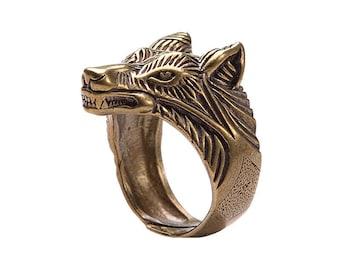 Bronze Wolf ring. Viking bronze jewerly. Wolves head ring. Viking ring