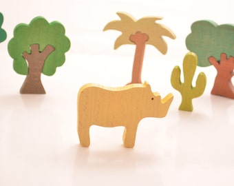 Rhino Wooden Figures, Wooden Animals, Baby's Gift, Natural Wooden Toys, Educational, Waldorf toys, Montessori toys, Learning toys, Eco Gift