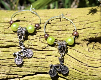 Unique one of a kind hoop bicycle earrings