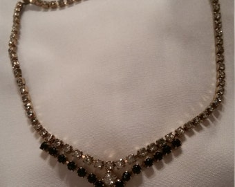 Vintage Black and Clear Rhinestone Choker Necklace