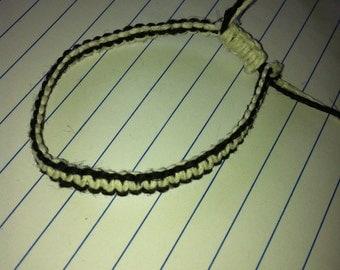 Custom handmade Hemp macrame 2 color adjustable bracelet