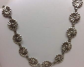 Vintage sterling silver flower necklace